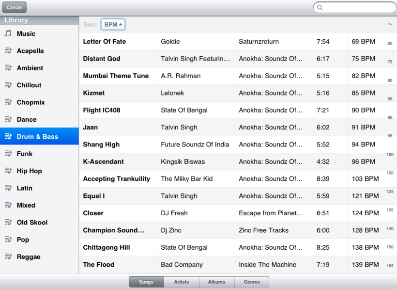 djay for iPad music library view